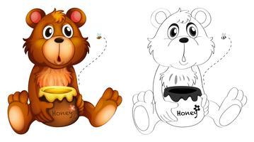 Contorno animal para urso com mel vetor