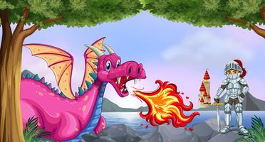 Dragão e cavaleiro vetor