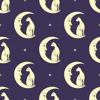Gato sentado na lua. Céu noturno sem costura de fundo. Magia fofa, design oculto. Vetor