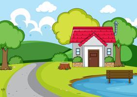 Uma casa rural na natureza vetor