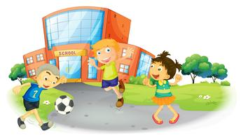 Crianças jogando futebol na escola vetor