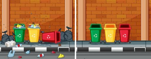 Uma comparação de rua limpa e suja vetor