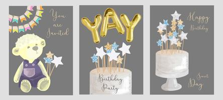 Conjunto de design de cartões de aniversário. vetor