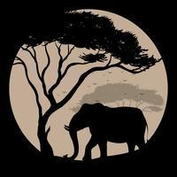 Cena de silhueta com elefante e árvore vetor