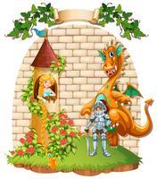 Princesa em torre e cavaleiro com animal de estimação de dragão