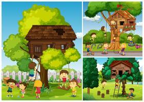 Childern brincando na casa da árvore vetor