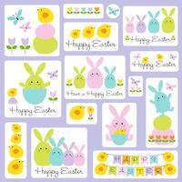 ilustrações de easter bunny and chick vetor