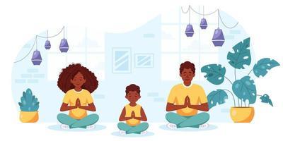família afro-americana fazendo ioga em um interior aconchegante. família passando um tempo juntos. vetor