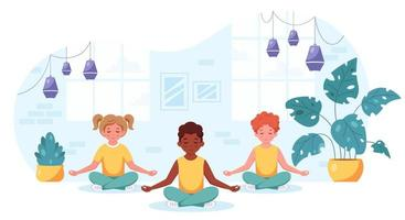 filhos de diferentes nacionalidades meditando na posição de lótus. ginástica, ioga e meditação para crianças vetor