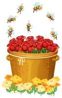 Um, cesta, de, rosas vermelhas, com, abelhas vetor