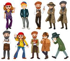 Um conjunto de caracteres masculinos vetor