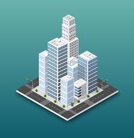 Conceito isométrico da cidade de negócios de infra-estrutura urbana