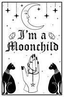 Gatos pretos e a lua. Orando mãos segurando um rosário. Eu sou um texto Moonchild