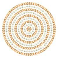 Padrão redondo feito com correntes de ouro e pérolas. Em branco. Ilustração vetorial