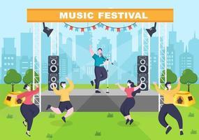 ilustração em vetor fundo festival de música com instrumentos musicais e performance de canto ao vivo para modelo de cartaz, banner ou brochura