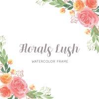 Aquarela flores pintados à mão com borda de quadro de grinaldas de texto, flores exuberantes vetor