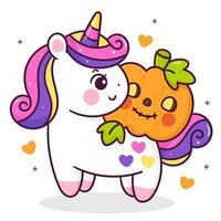 Desenho de unicórnio fofo com abóbora laranja Halloween bebê truque ou travessura crianças vetor kawaii chifre de animais cavalo ilustração de conto de fadas