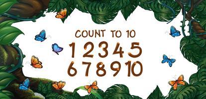 Contando números de um a dez com fundo de floresta