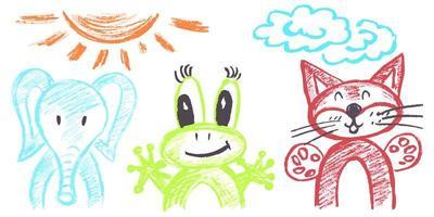desenho infantil fofo com giz de cera vetor