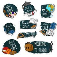material escolar. doodle, desenho à mão. ilustração vetorial vetor