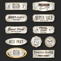 ilustração da coleção de emblemas e etiquetas de ouro e marrom de luxo vetor
