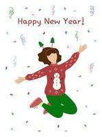 cartão de feliz ano novo. mulher de suéter salta e se diverte. festa de ano novo com confete. ilustração vetorial vetor