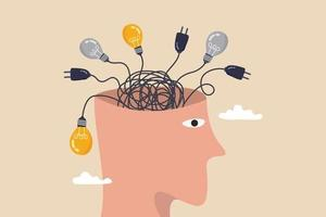 pensamento excessivo, ansiedade causada por pensar demais, perdido na decisão do caos, processo desordenado ou conceito de pensamento confuso, cabeça humana com a linha de cabo do caos confuso de plugue elétrico e ideias de lâmpada. vetor
