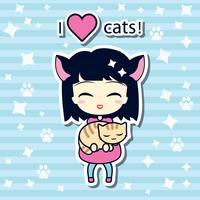 Linda garota segurando o pequeno gato vetor