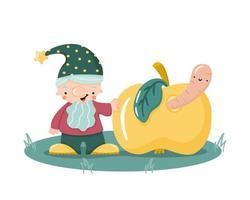 gnomo bonito dos desenhos animados mão desenhada com ilustração em vetor plana maçã wormy. pequeno jardim anão com barba com chapéu engraçado. personagem mágico para crianças de design.
