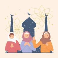 mulheres muçulmanas e mesquita vetor