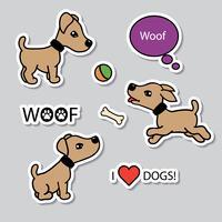 Vector conjunto de cães engraçados dos desenhos animados