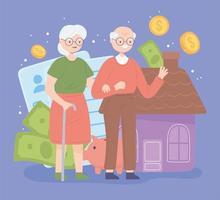 casal de aposentados e dinheiro vetor