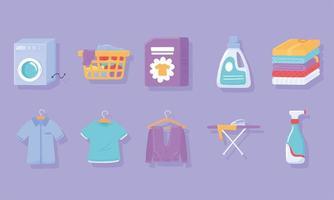 conjunto de ícones de roupas de lavanderia vetor