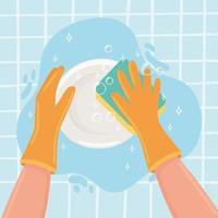 mãos lavando um prato vetor
