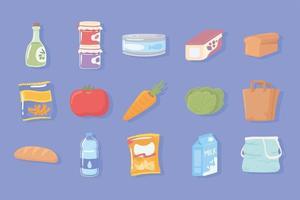definir ícone de produtos de mercearia vetor
