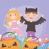 crianças com doces e fantasias vetor