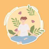 jovem fazendo ioga vetor