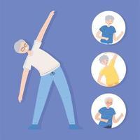 idosos fazendo atividade física vetor