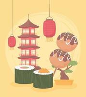 conjunto tradicional japonês vetor
