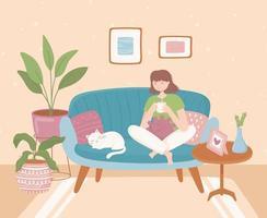 casa confortável, mulher relaxando vetor