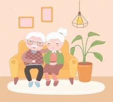 casal velho fofo vetor