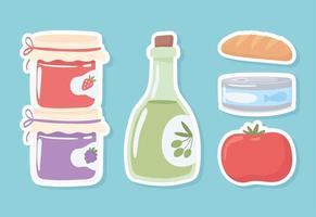 garrafas de mantimentos e comida vetor
