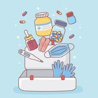 medicamentos para kit de primeiros socorros vetor