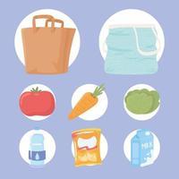 comida e sacolas ícone vetor