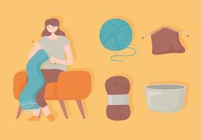 mulher fazendo um lenço vetor