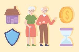 poupança para aposentadoria de casal de idosos vetor