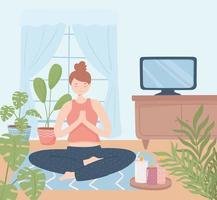 mulher ioga relaxando em casa vetor