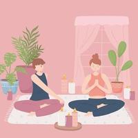 casal fazendo ioga em casa vetor