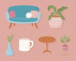decoração de casa confortável vetor