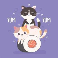 gatinhos fofos e comida vetor